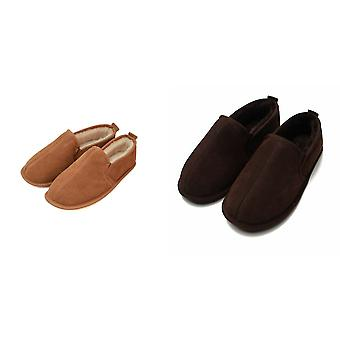 Eastern Counties Leather Mens Sheepskin Lined Soft Suede Sole Slippers