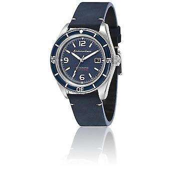 Watch Spinnaker SP-5055-03 - Fleuss Blue Man blue dial steel case leather strap