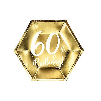 Gold 60th Birthday Party Paper Plates Partyware Tableware 20cm x 6