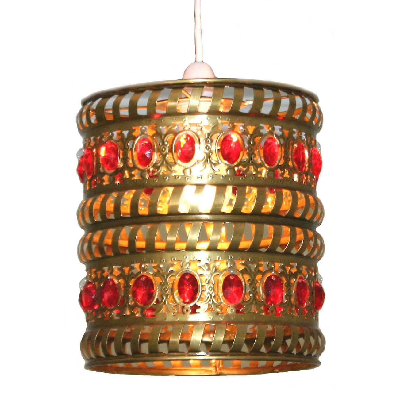 Marokkanische Anhänger Schatten - roten Juwelen & Messing antik