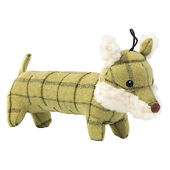 House Of Paws Plush Tweed Fox Long Body Dog Toy