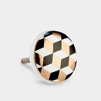 Ceramic Door Knob - Black / White / Gold - Cube