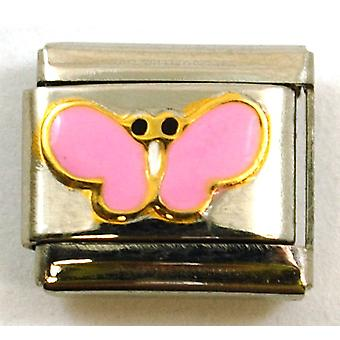The Olivia Collection Pink Enamel Butterfly Stainless Steel Italian Charm