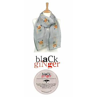Black Ginger British Artists Endangered Species Charity Scarf - Fox (734-599)