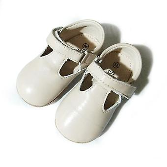 SKEANIE Leather T-Bar Shoes in Cream