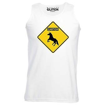Reality glitch caution unicorns mens vest
