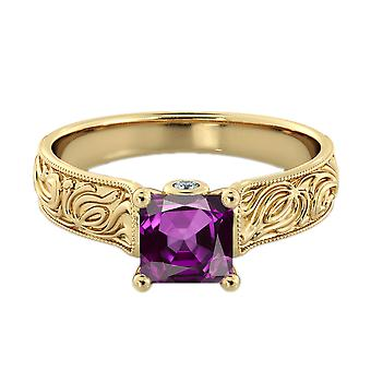 1.06 ctw Amethyst Ring with Diamonds 14K Yellow Gold Filigree Cathedral Princess