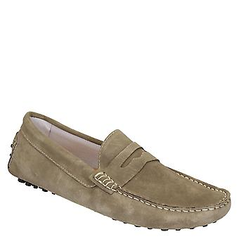 Beige suede driving moccasins for men handmade in Italy