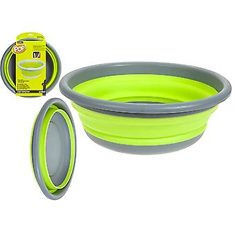 Summit POP 7L Large Collapsible Round Camping Bowl Outdoor Kitchen Utensils - Lime / Grey
