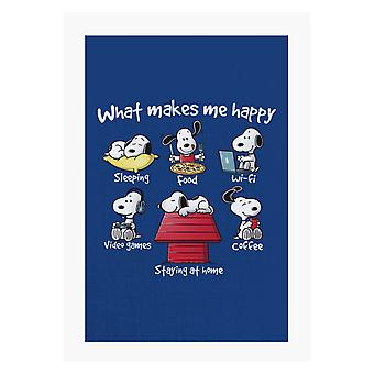 Snoopy Staying At Home Makes Me Happy A4 Print