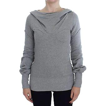 Gray Cotton Top Pullover Hooded Sweater -- SIG3982149