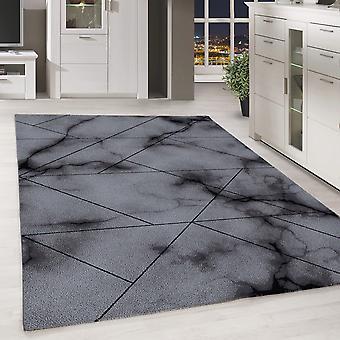 Modern Short Flower Rug Marble Pattern Living Room Bedroom Grey Melted