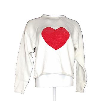 North Style Women's Long Sleeves Cropped Pullover Printed Sweater White