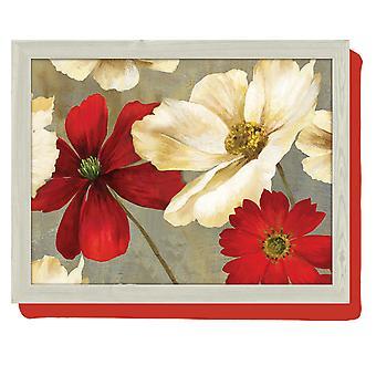 Lap cushion Red White Flower