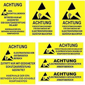 Quadrios ESD sinal de aviso 1 pc(s) Amarelo, Preto (L x W) 140 mm x 140 mm