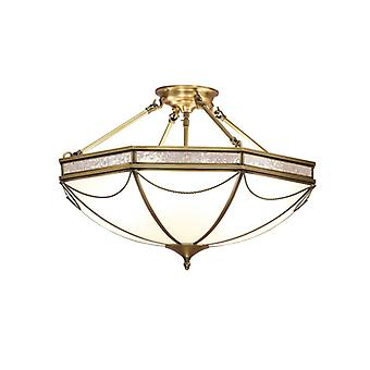 Russel Semi-ceiling Light, Antique Brass And Frosted Glass, 3 Bulbs