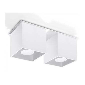 Quad Ceiling Light White Aluminum 2 Bulbs