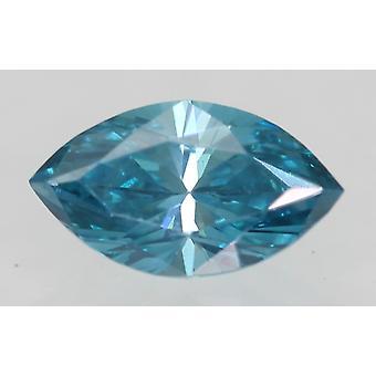 Cert 0.41 Carat Sky Blue VVS2 Marquise Enhanced Natural Diamond 6.68x3.77mm 2VG