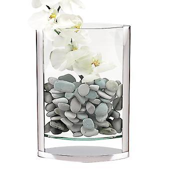 "12"" Mouth Blown Crystal and Non Tarnish Aluminum Pocket Vase"