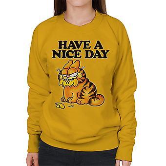 Garfield krossade smiley ansikte i munnen har en trevlig dag kvinnor ' s tröja
