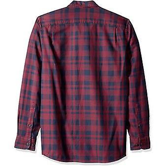 Goodthreads Men's Standard-Fit Long-Sleeve Plaid Twill Shirt, Burgundy, XX-La...