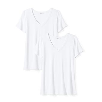 Brand - Daily Ritual Women's Jersey Short-Sleeve V-Neck T-Shirt, White, Medium