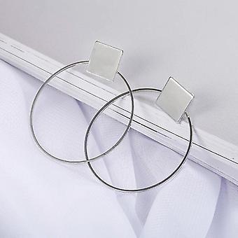 Silver Geometric Disc Hoop Earrings