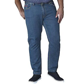 Duke D555 Mens Bailey Big Tall King storlek Stretch Resår midja Jeans - Blå