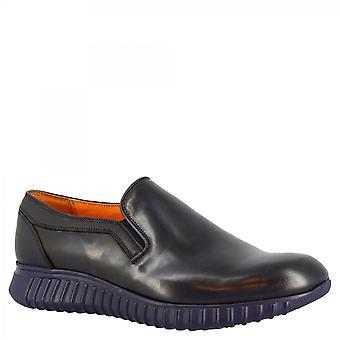 Leonardo Kengät Miehet&s käsintehty pyöreä pusero pitsitön kengät sininen vasikka nahka korkea pohja