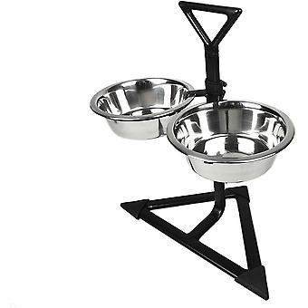 Klassieke verstelbare dinerstandaard met twee bowls (900mlx2)