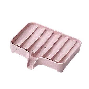 Plastic Plain Drain Soap Storage Box Pink