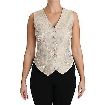Dolce & Gabbana Silke Jaquard Floral Print Topp Bluse Vest TSH3000-40