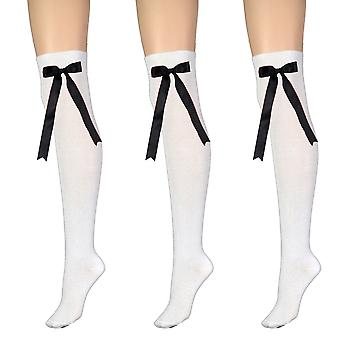 Women-apos;s White With Bow Over The Knee High Costume Socks 4-6 Royaume-Uni