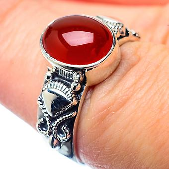 Red Onyx Ring Size 7.25 (925 Sterling Silver)  - Handmade Boho Vintage Jewelry RING26779