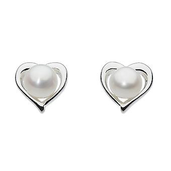 Dew Silver Dinky Small Heart With Freshwater Pearl Stud Earrings 3653FP024