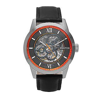 Heritor Automatic Jonas Leather-Band Skeleton Watch - Silver/Orange