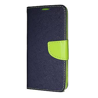iPhone 12/12 Pro Plånboksfodral Fancy Case + Handrem Mörkblå-Lime