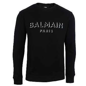 Balmain men's black 3d logo sweatshirt
