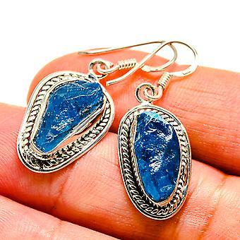 """Blue Fluorite Earrings 1 1/2"""" (925 Sterling Silver)  - Handmade Boho Vintage Jewelry EARR407476"""