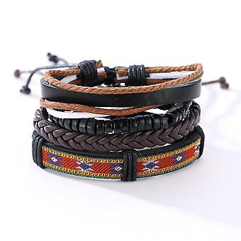 Vintage Adjustable Multilayer Braided Weave Leather Bracelet Wood Beaded