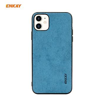 For iPhone 11 ENKAY ENK-PC028 Business Series Fabric Texture PU Leather + TPU Soft Slim Case(Blue)