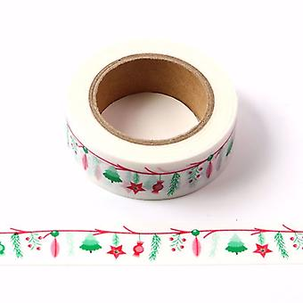 Christmas Washi Tape Bianco con tema rosso e verde colorato