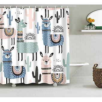 Alpaca Pattern-waterproof, Printed Shower Curtain For Bathroom And Home Decor