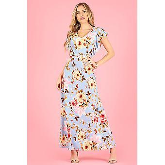 Print Maxi Kleid mit kurzen Flutter Ärmeln und V-Ausschnitt