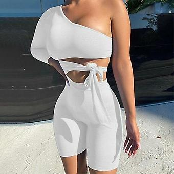 One Shoulder Cut Out Benda Sexy Playsuit