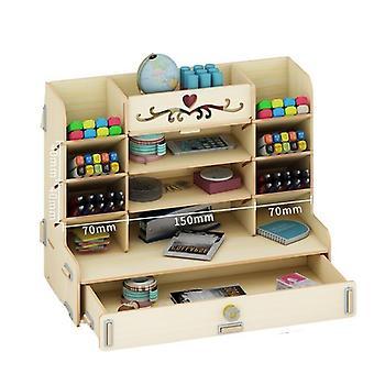 Creative Wooden Storage Box Organizer Pen Pencil Holder