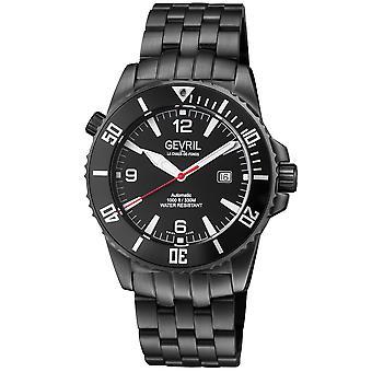 Gevril Canal Street Men's Swiss Automatic Black Dial IP Black Bracelet Watch