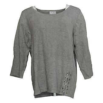 Joan Rivers Women's Sweater Scoop Neck W/ Lace Up Detail Gray A309778