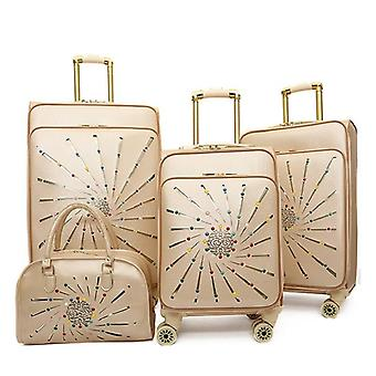 Pu Leather Rolling Luggage Set