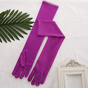 Sposa Fuchsia Satén dlhé svadobné rukavice party & svadobné rukavice